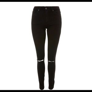 topshop moto leigh black ripped jeans